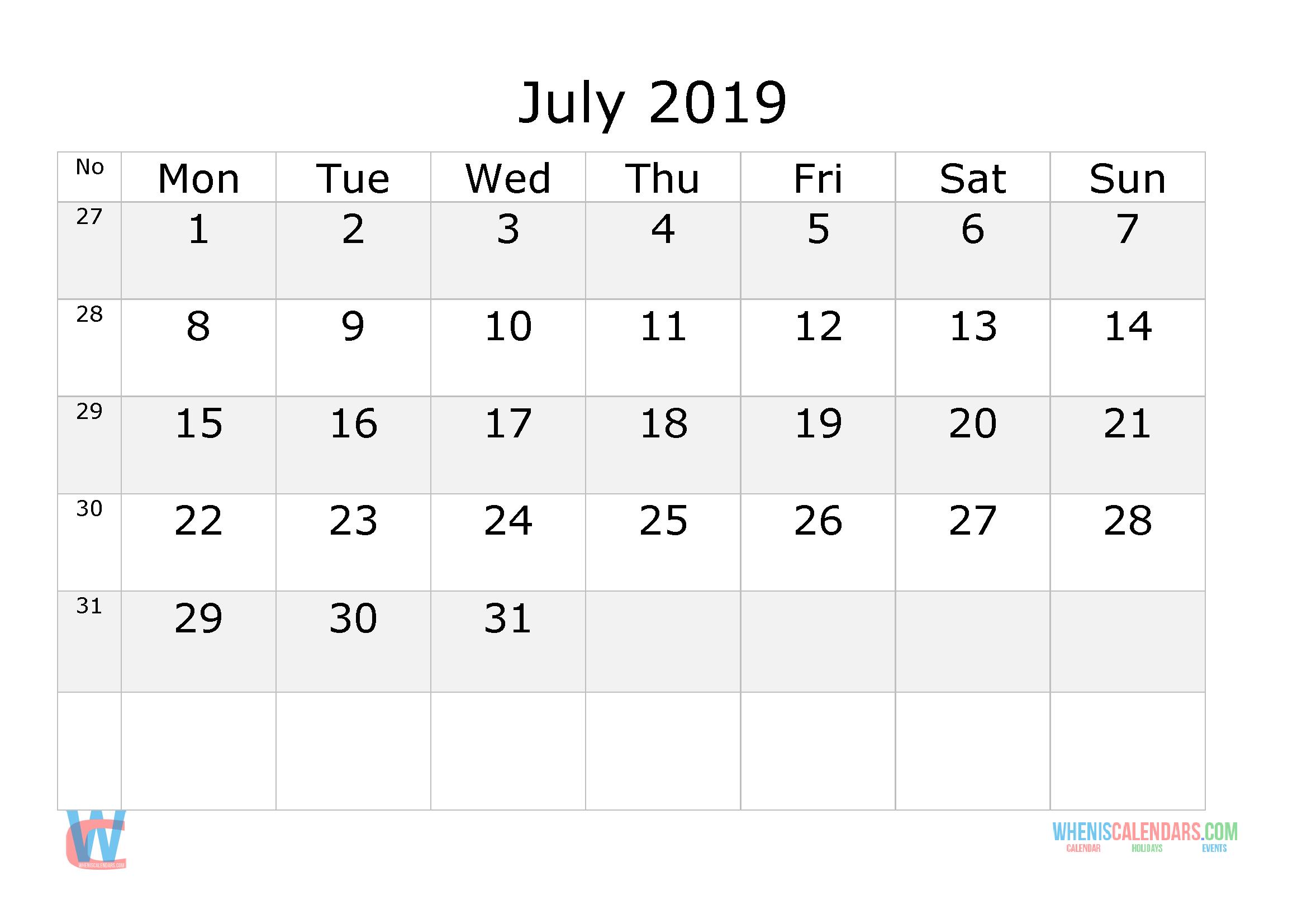 July 2019 Calendar With Week Numbers Printable Start 1