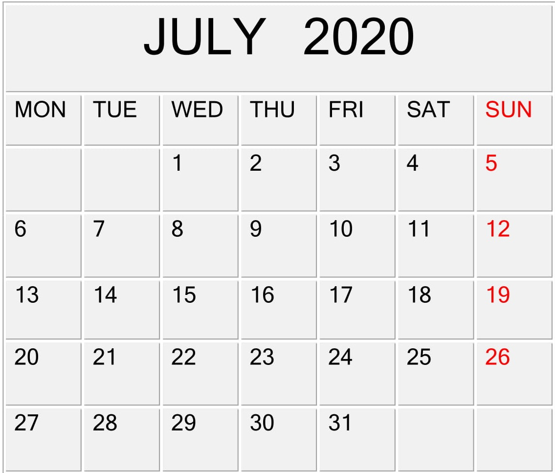 July 2020 Calendar Template For Word Pdf And Excel Free