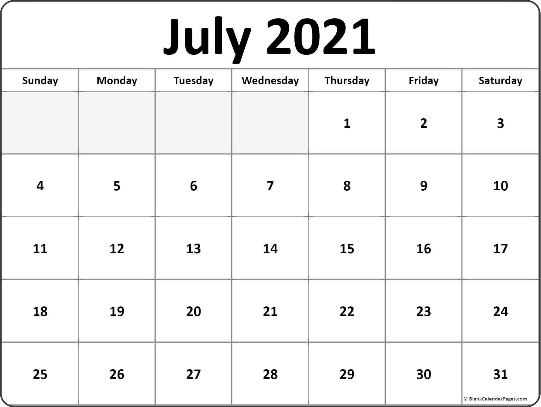 July 2021 Blank Calendar Templates