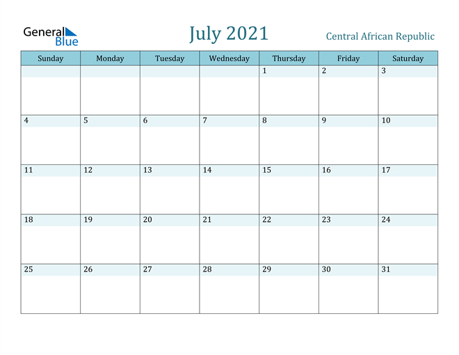 July 2021 Calendar Central African Republic