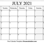 July 2021 Calendar Free Blank Printable Templates