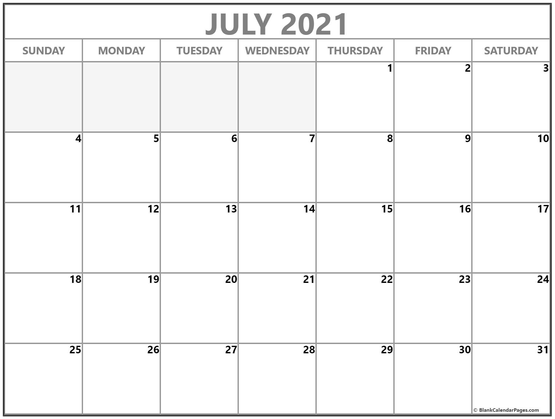 July 2021 Calendar Free Printable Monthly Calendars 10