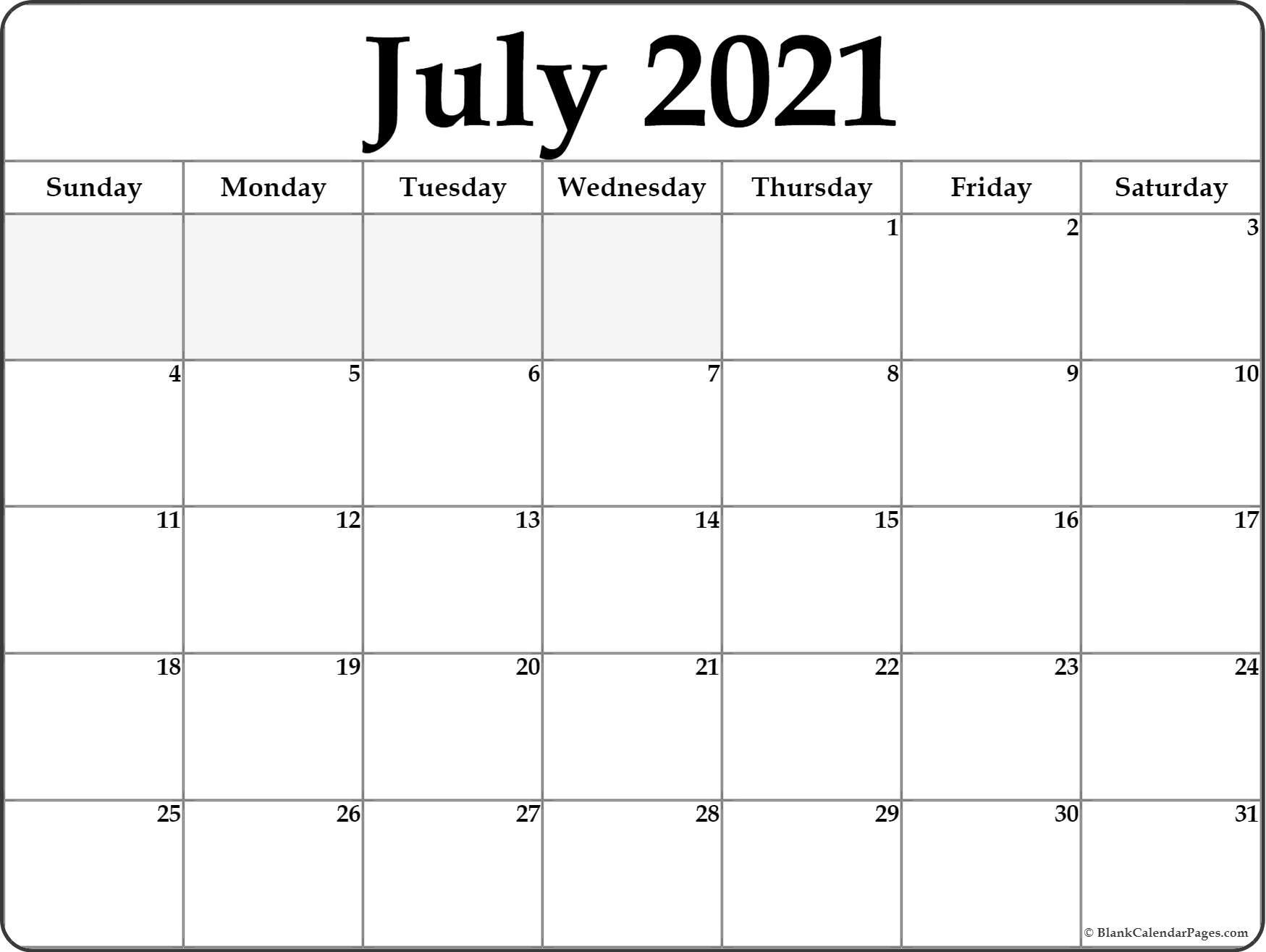 July 2021 Calendar Free Printable Monthly Calendars 11