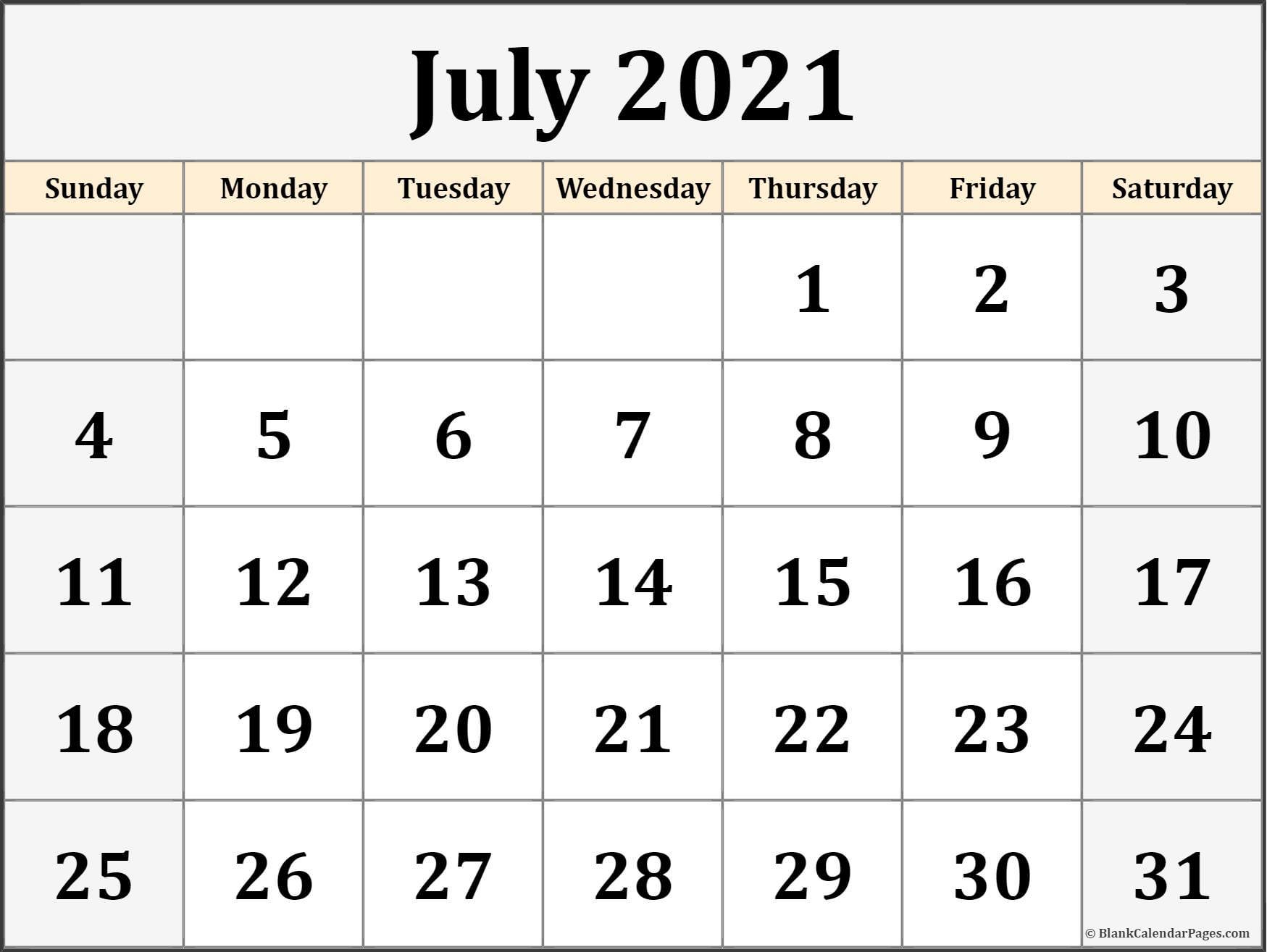 July 2021 Calendar Free Printable Monthly Calendars 12