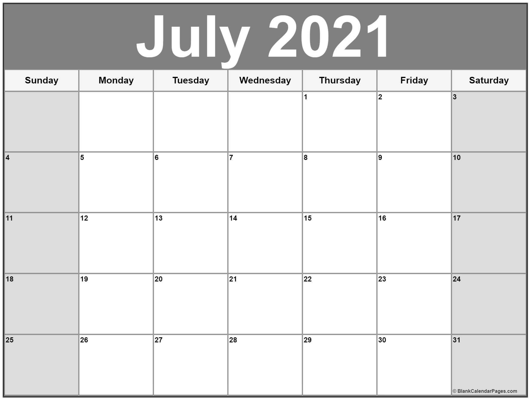 July 2021 Calendar Free Printable Monthly Calendars 13