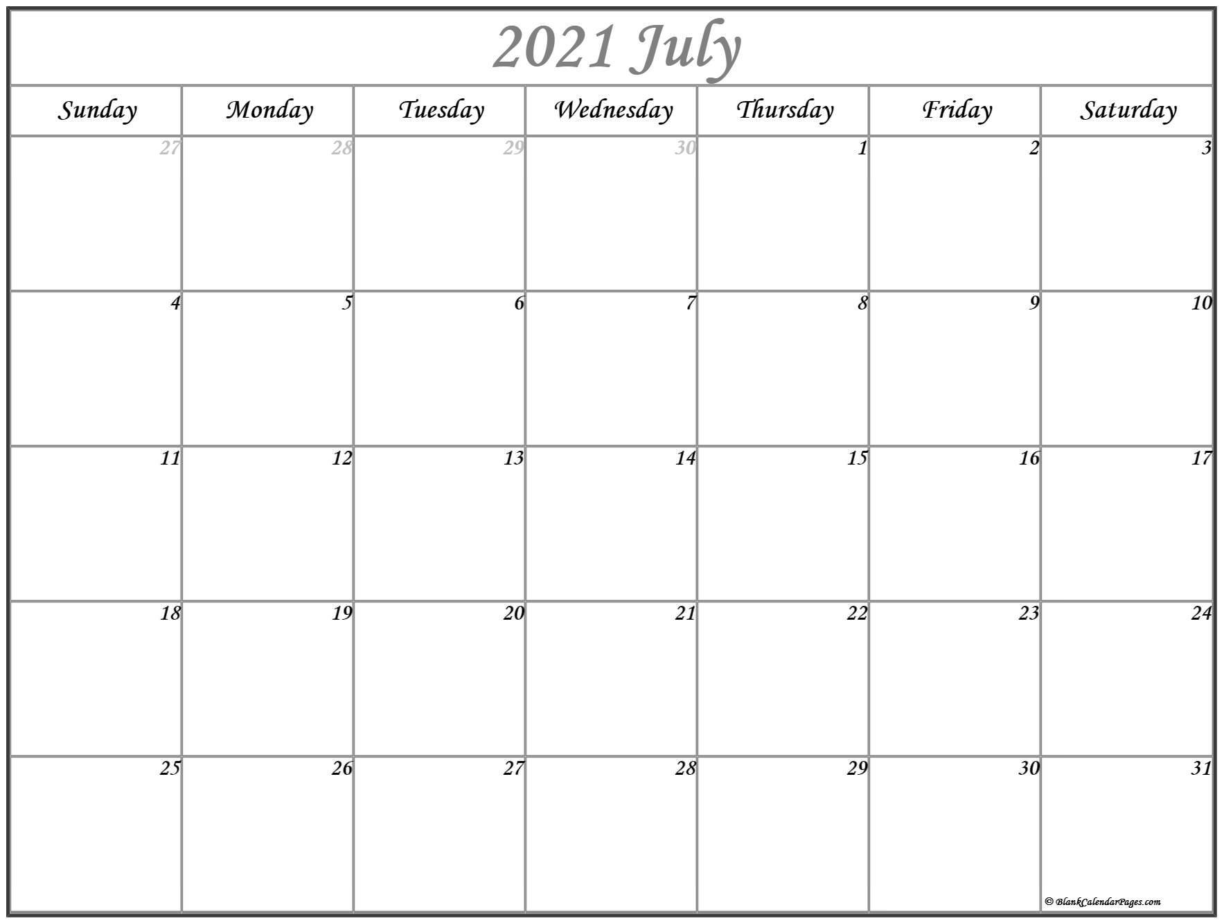 July 2021 Calendar Free Printable Monthly Calendars 15