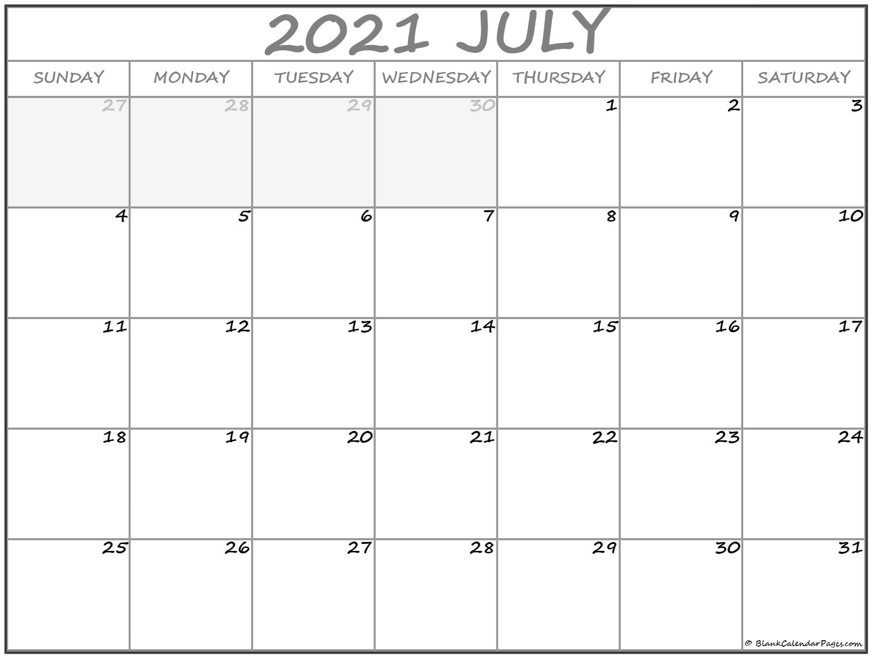 July 2021 Calendar Free Printable Monthly Calendars 2