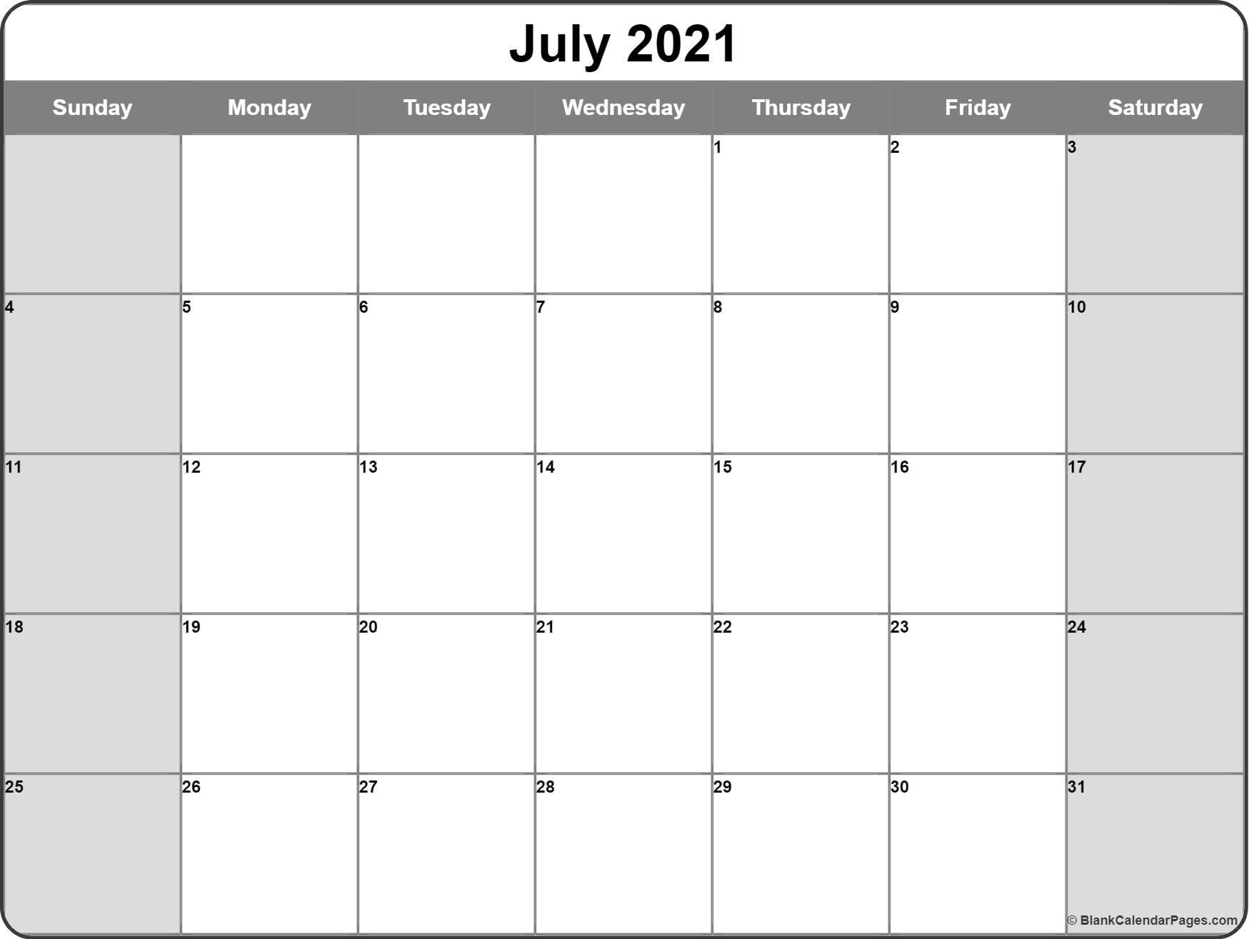 July 2021 Calendar Free Printable Monthly Calendars 3
