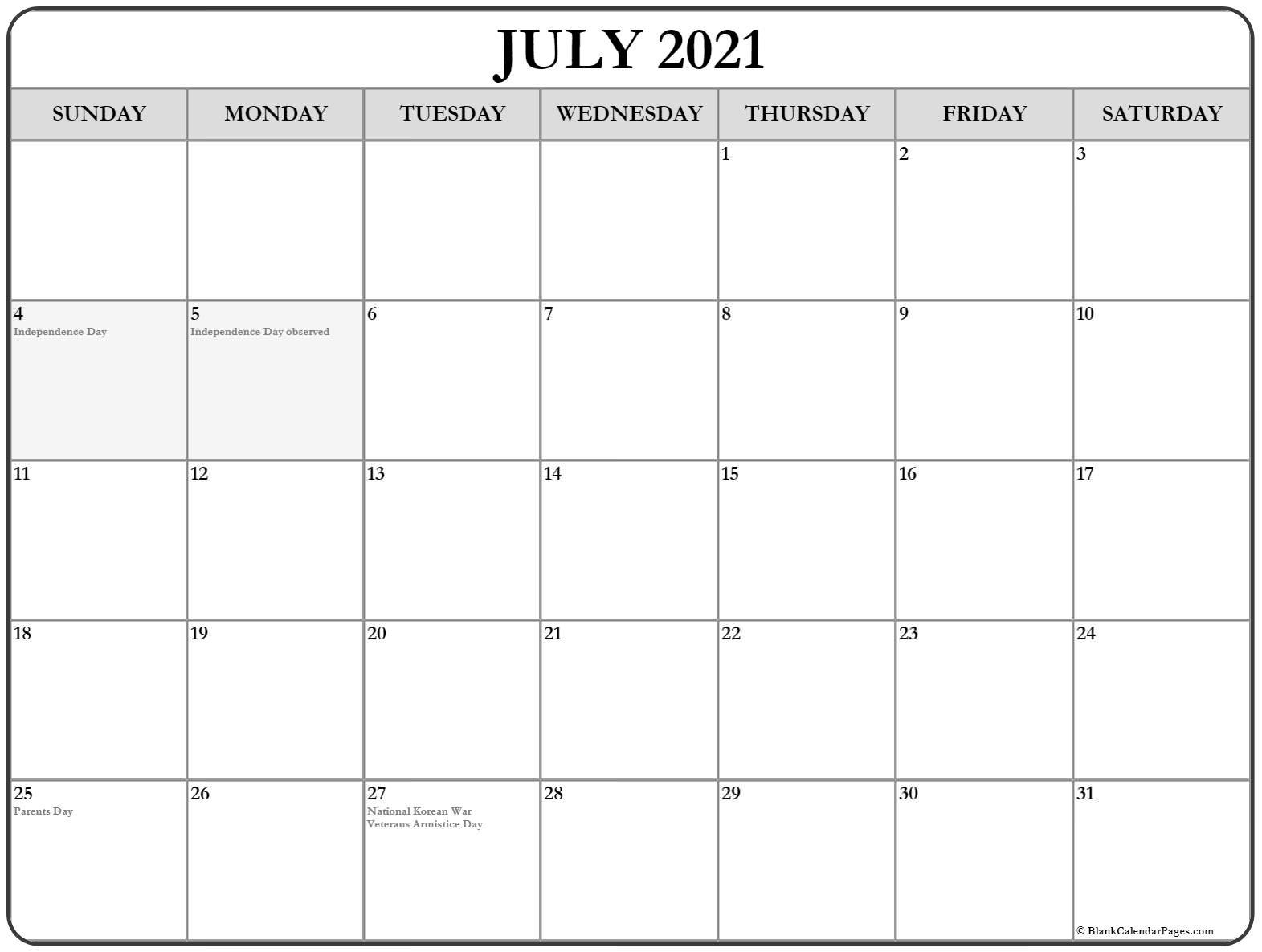 July 2021 Calendar Free Printable Monthly Calendars 4
