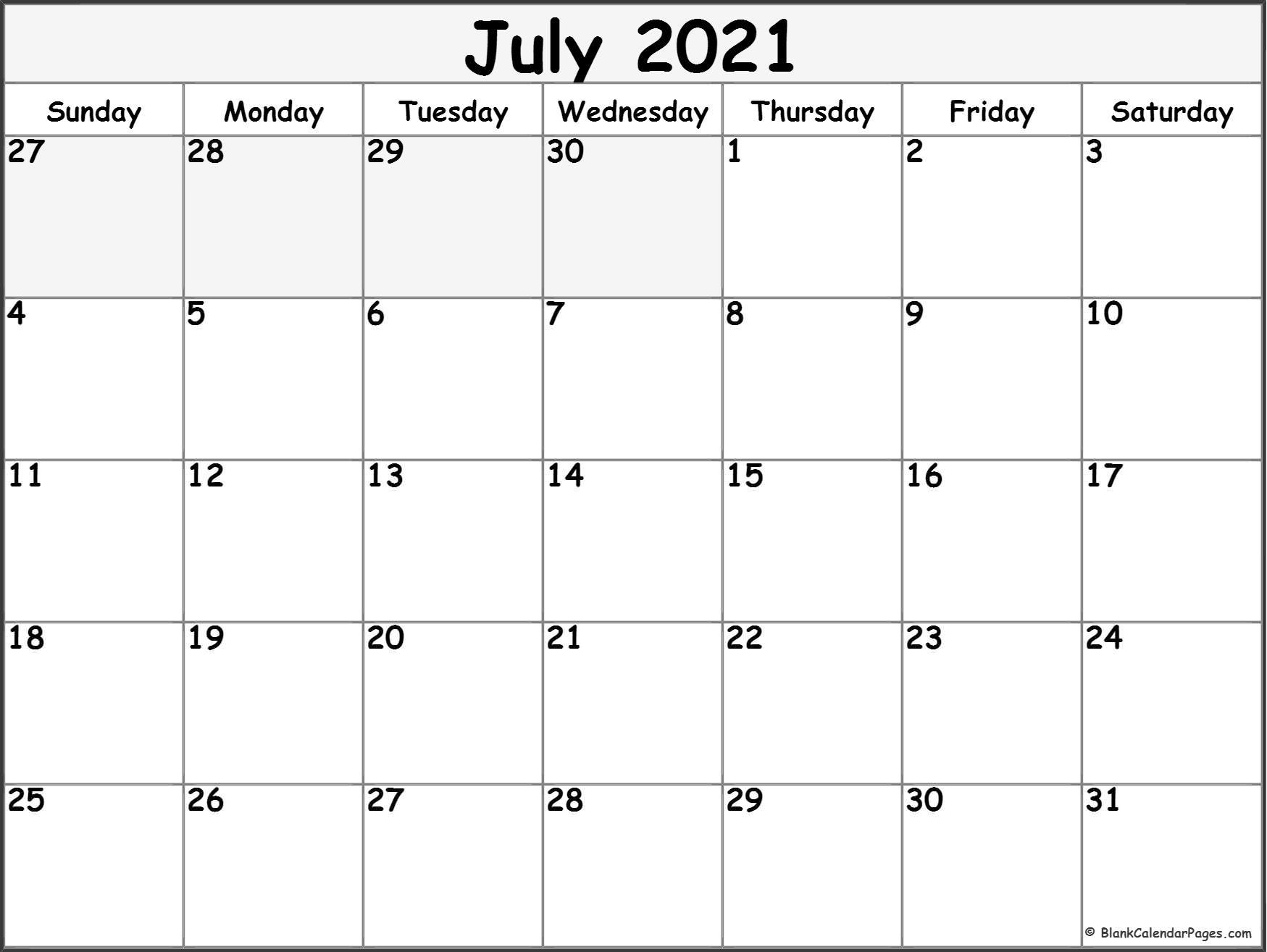 July 2021 Calendar Free Printable Monthly Calendars 7