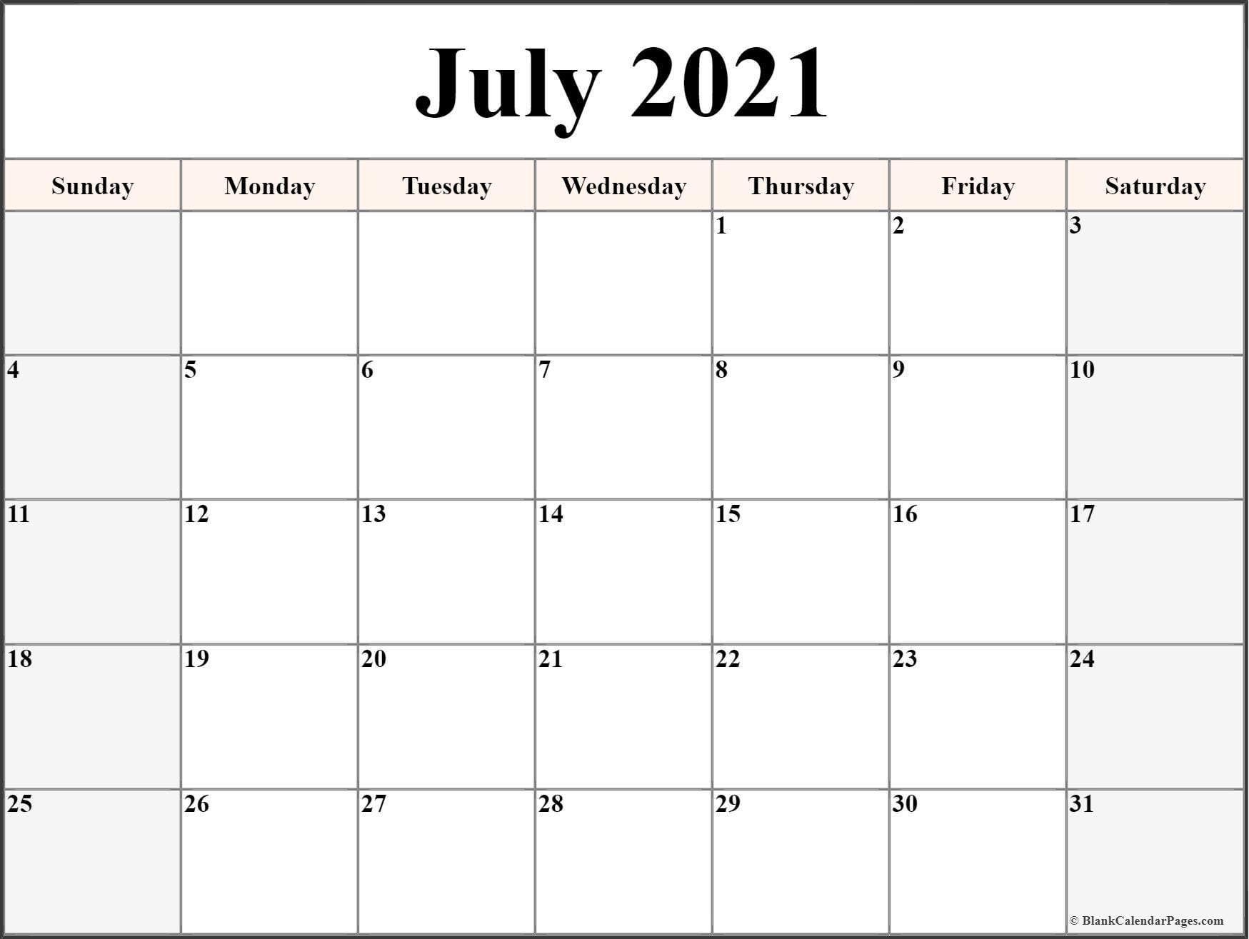July 2021 Calendar Free Printable Monthly Calendars 9