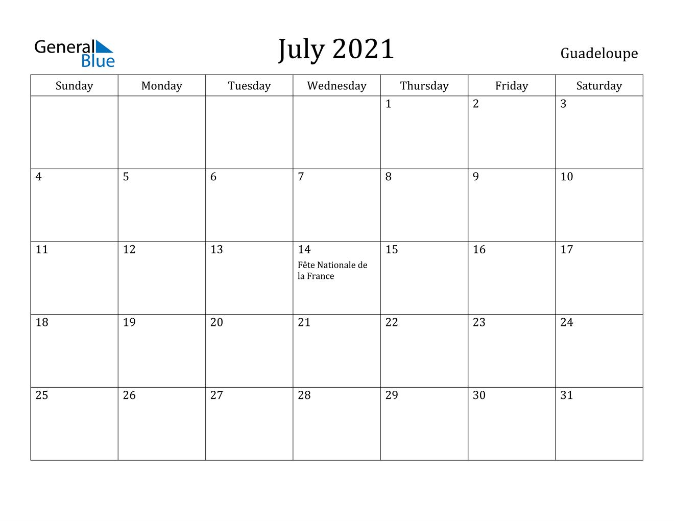 July 2021 Calendar Guadeloupe