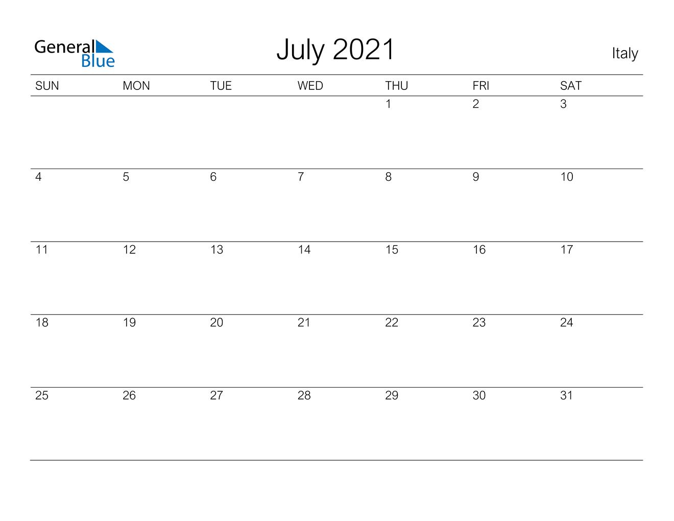 July 2021 Calendar Italy