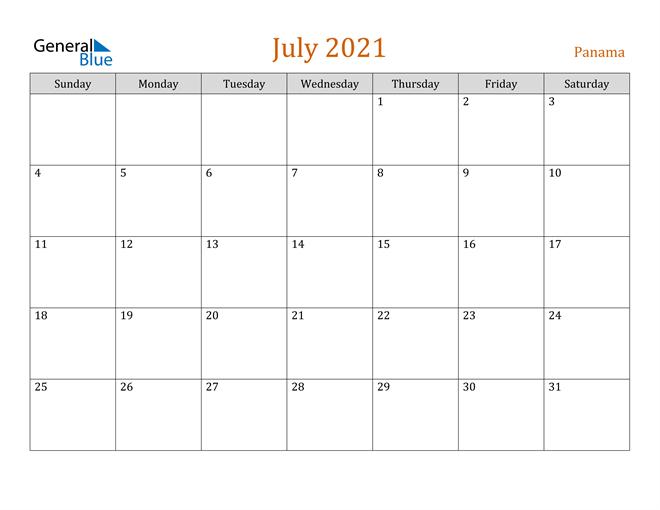 July 2021 Calendar Panama
