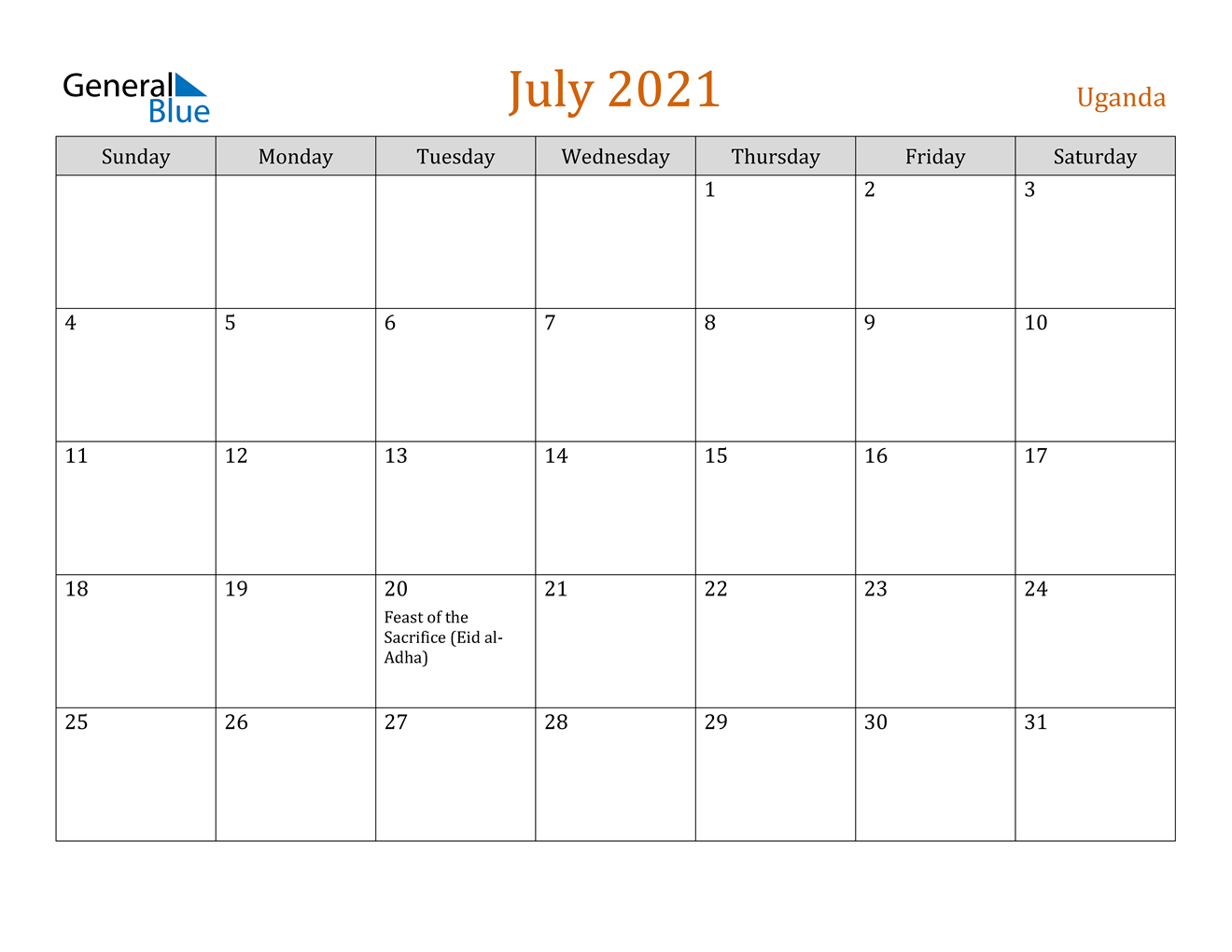 July 2021 Calendar Uganda