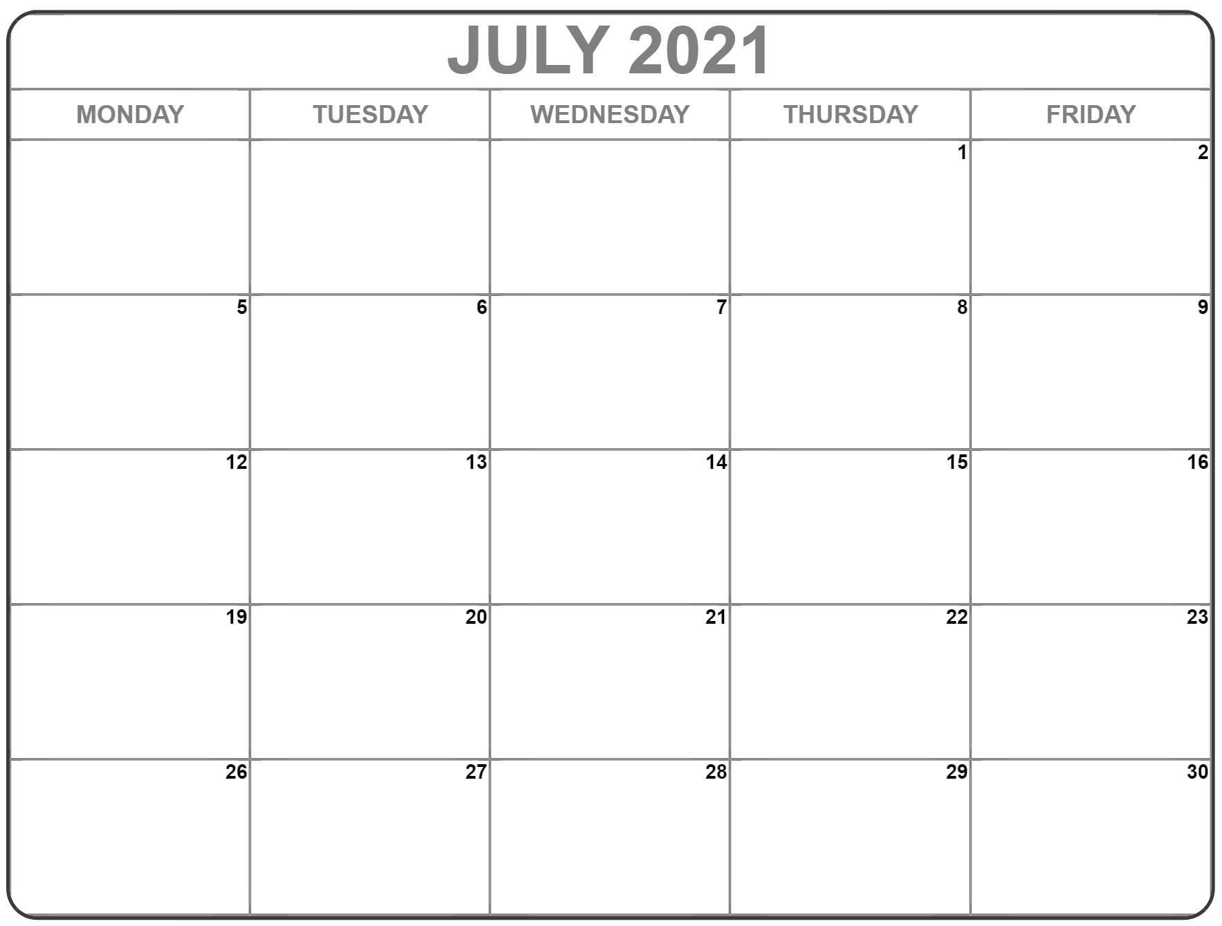 July 2021 Monday Calendar Monday To Sunday