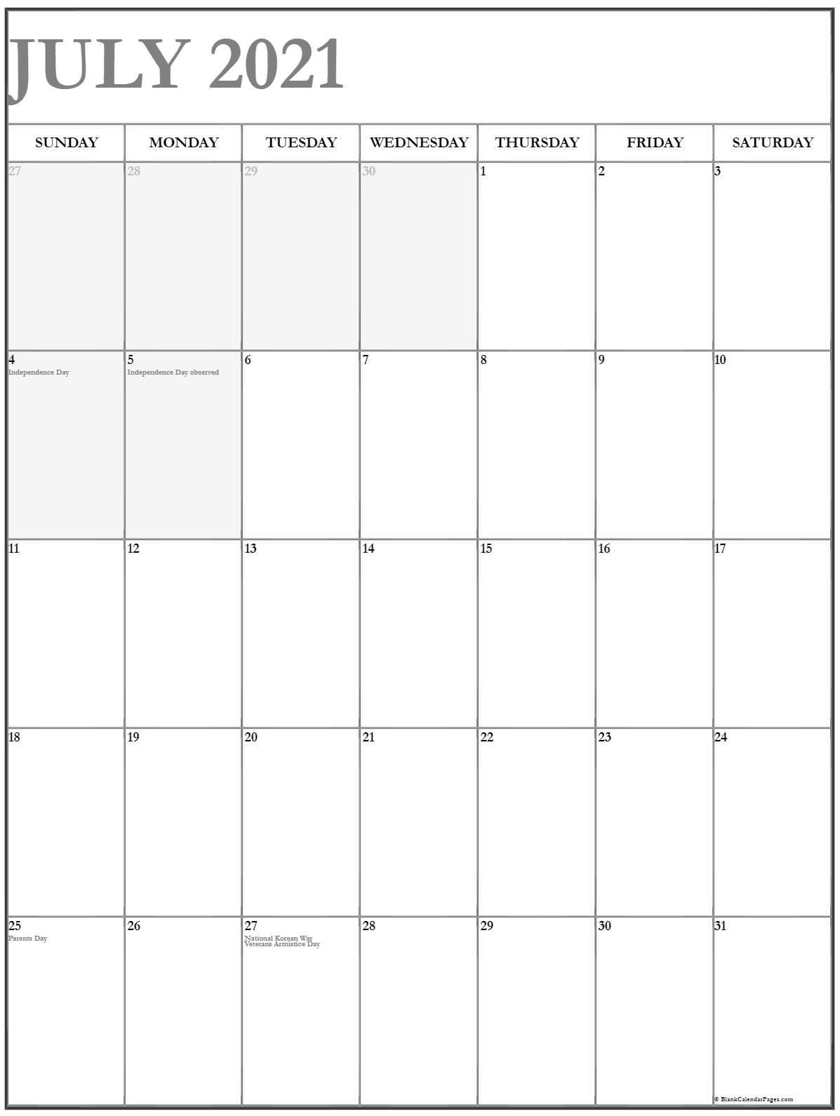 July 2021 Vertical Calendar Portrait