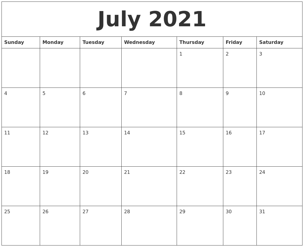 July 2021 Word Calendar