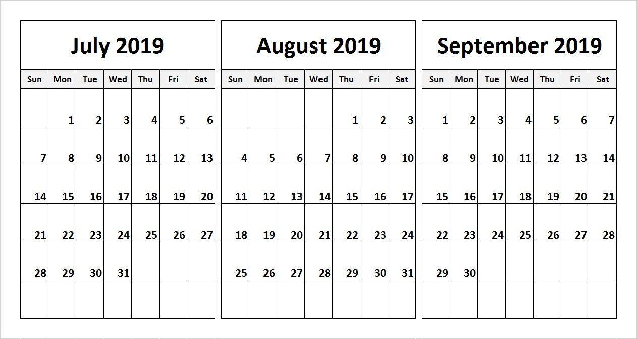 July August September 2019 Calendar In Pdf Word Excel