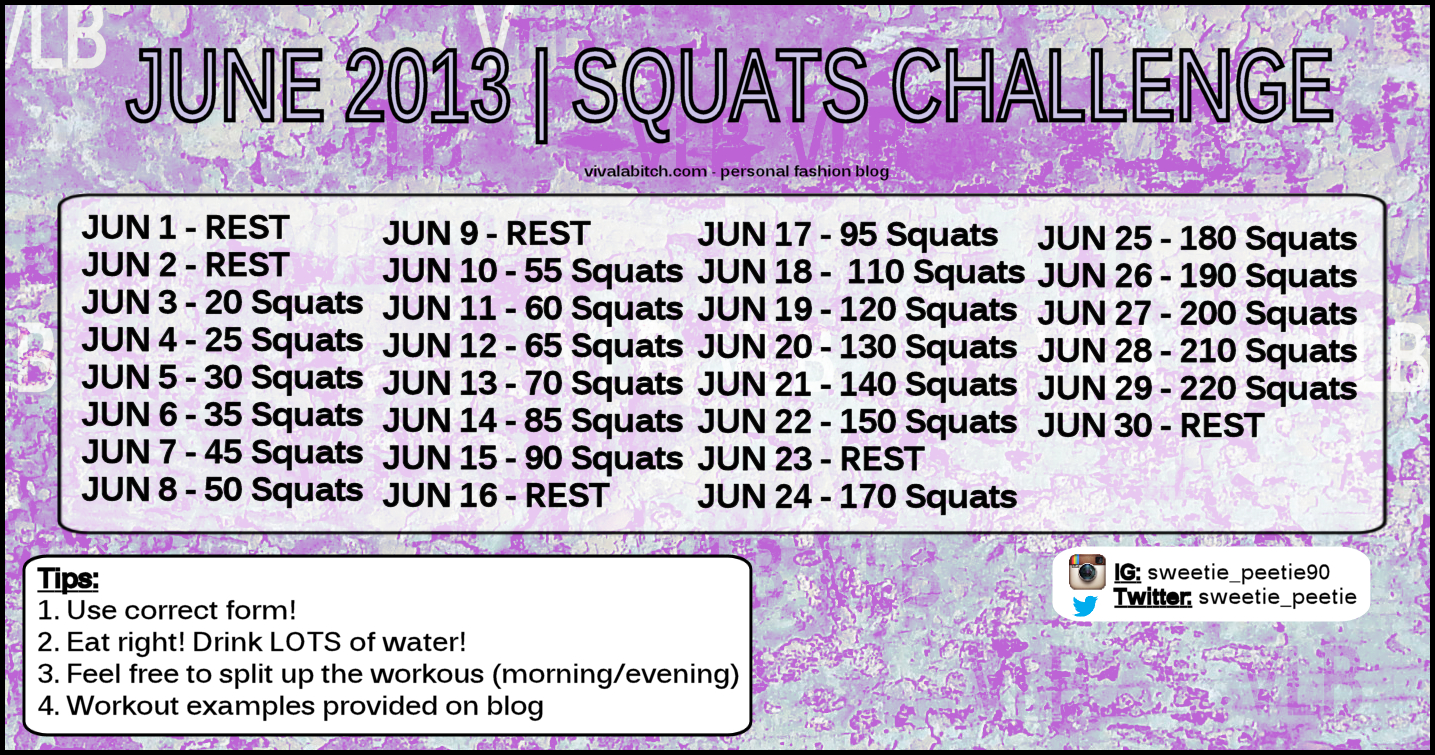 June 2013 Squats Challenege My Workout Calendar Viva