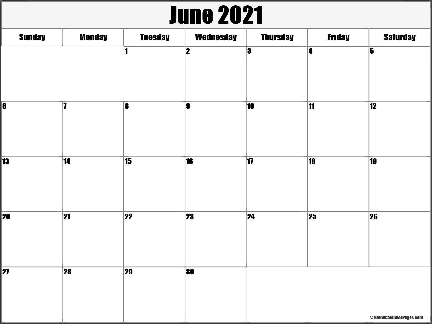 June 2021 Blank Calendar Templates