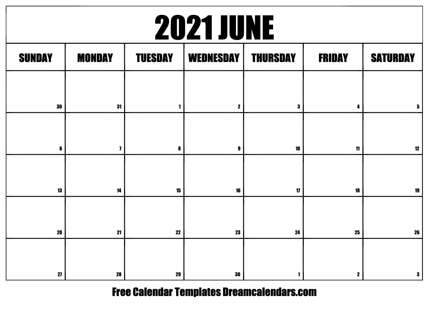 June 2021 Calendar Free Blank Printable Templates