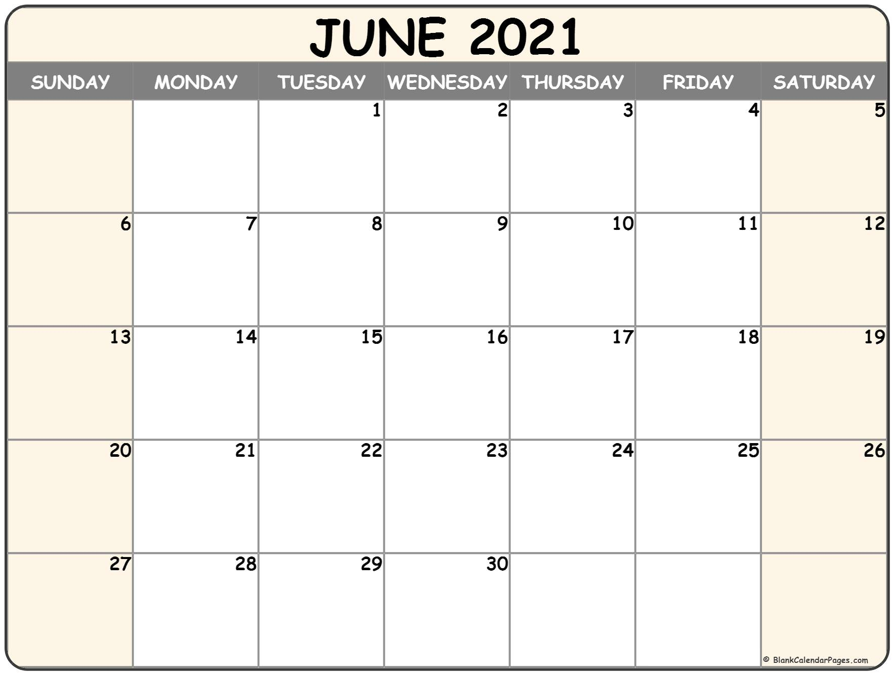 June 2021 Calendar Free Printable Monthly Calendars 1