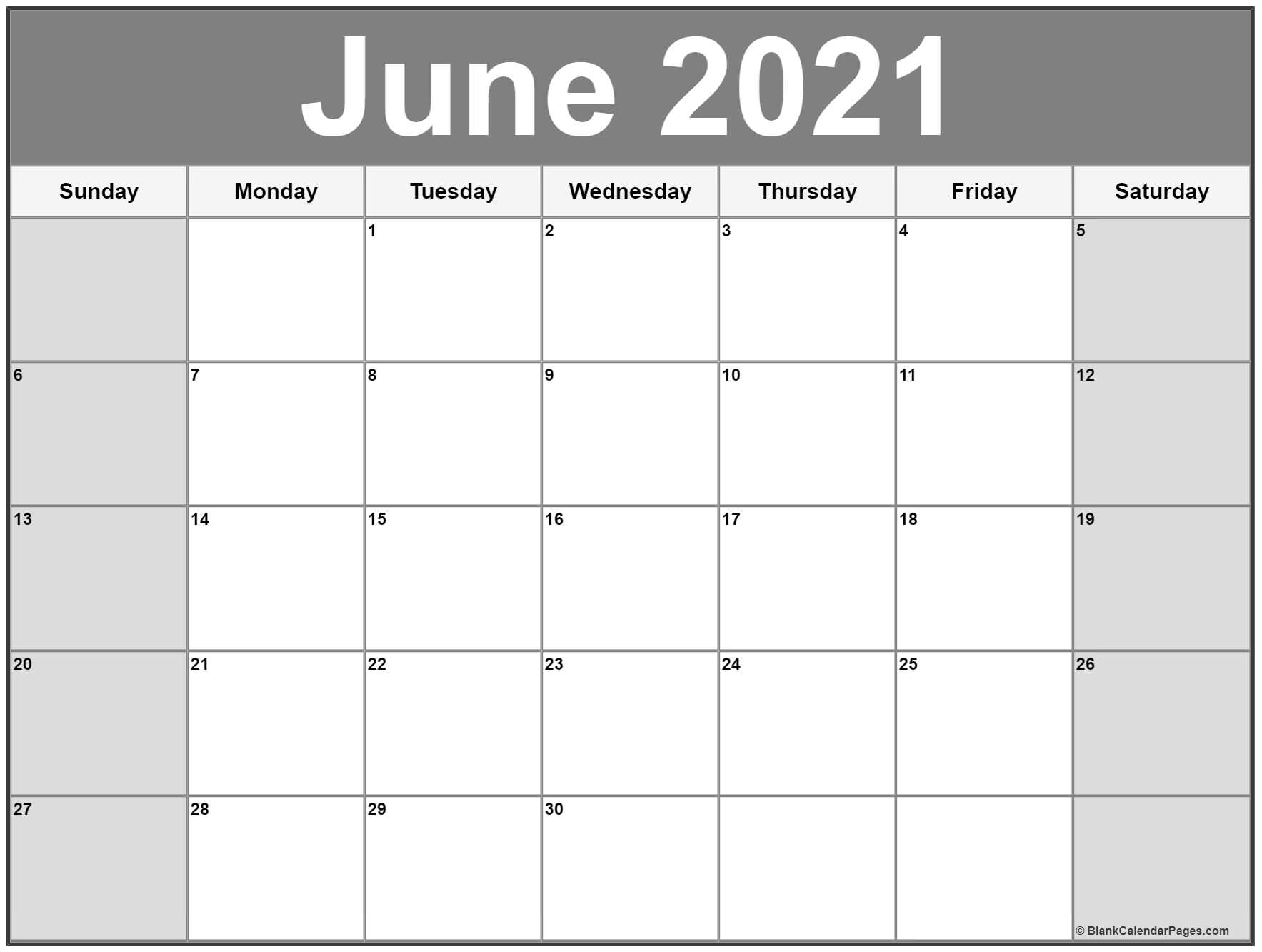 June 2021 Calendar Free Printable Monthly Calendars 2