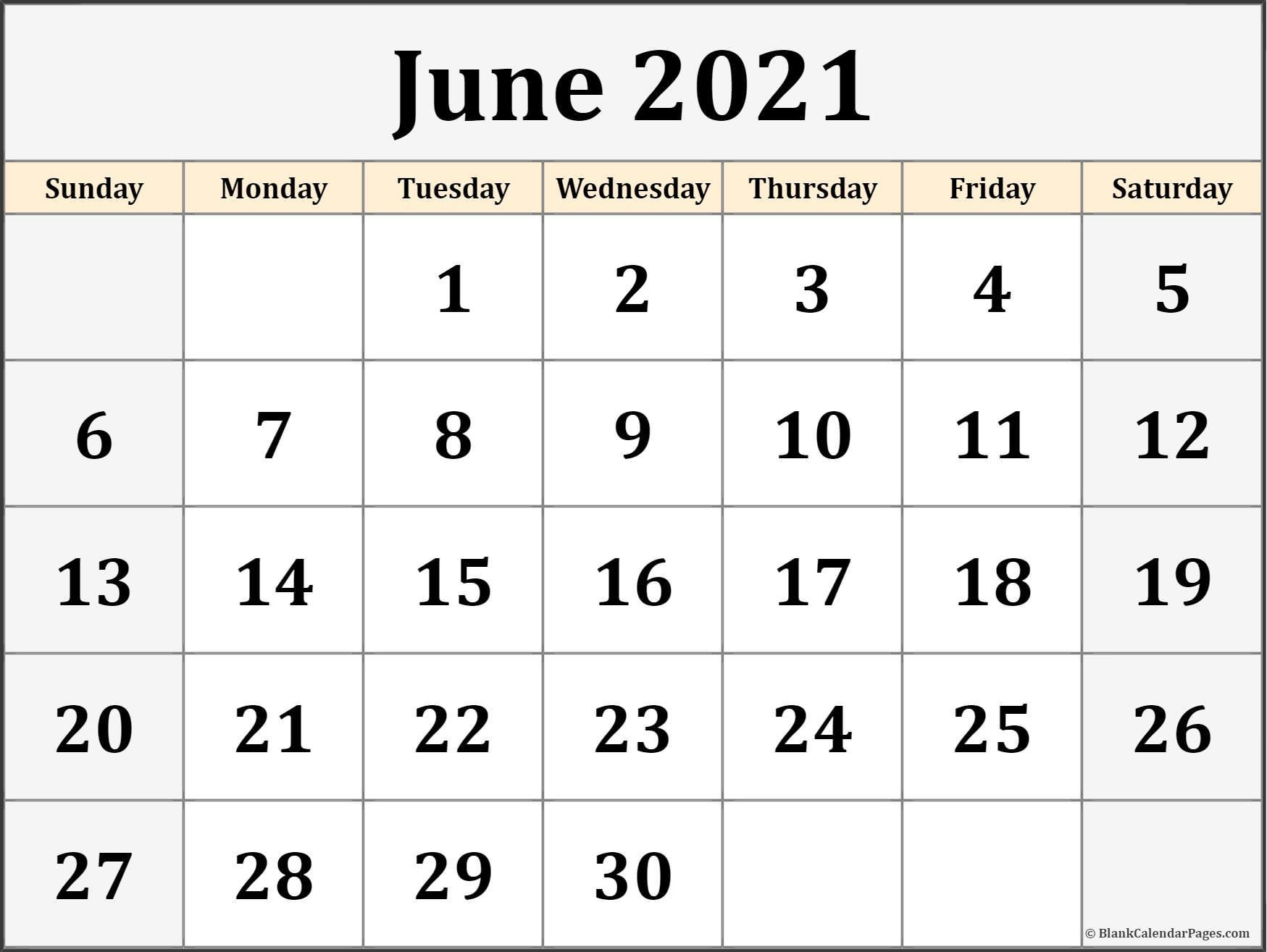 June 2021 Calendar Free Printable Monthly Calendars 3