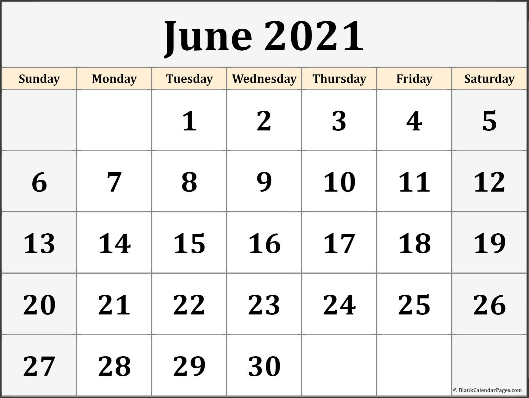 June 2021 Calendar Free Printable Monthly Calendars