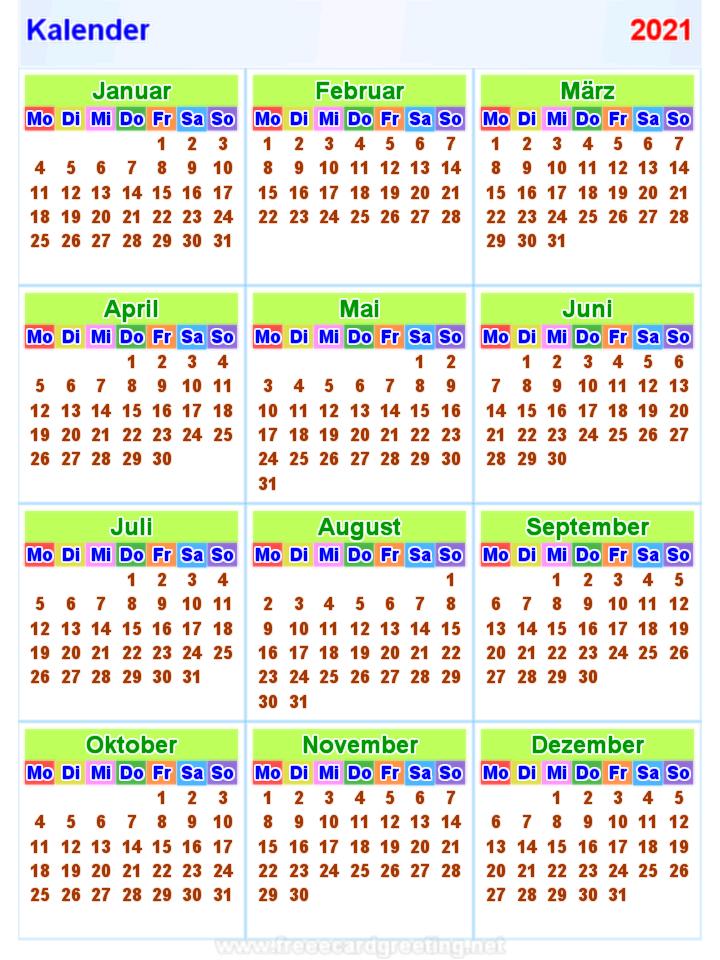 Kalender 2021 Bexdyie