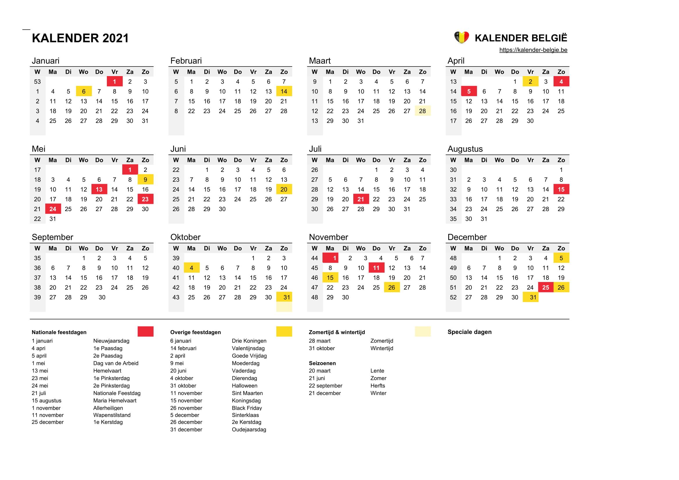Kalender 2021 Kalender Belgie