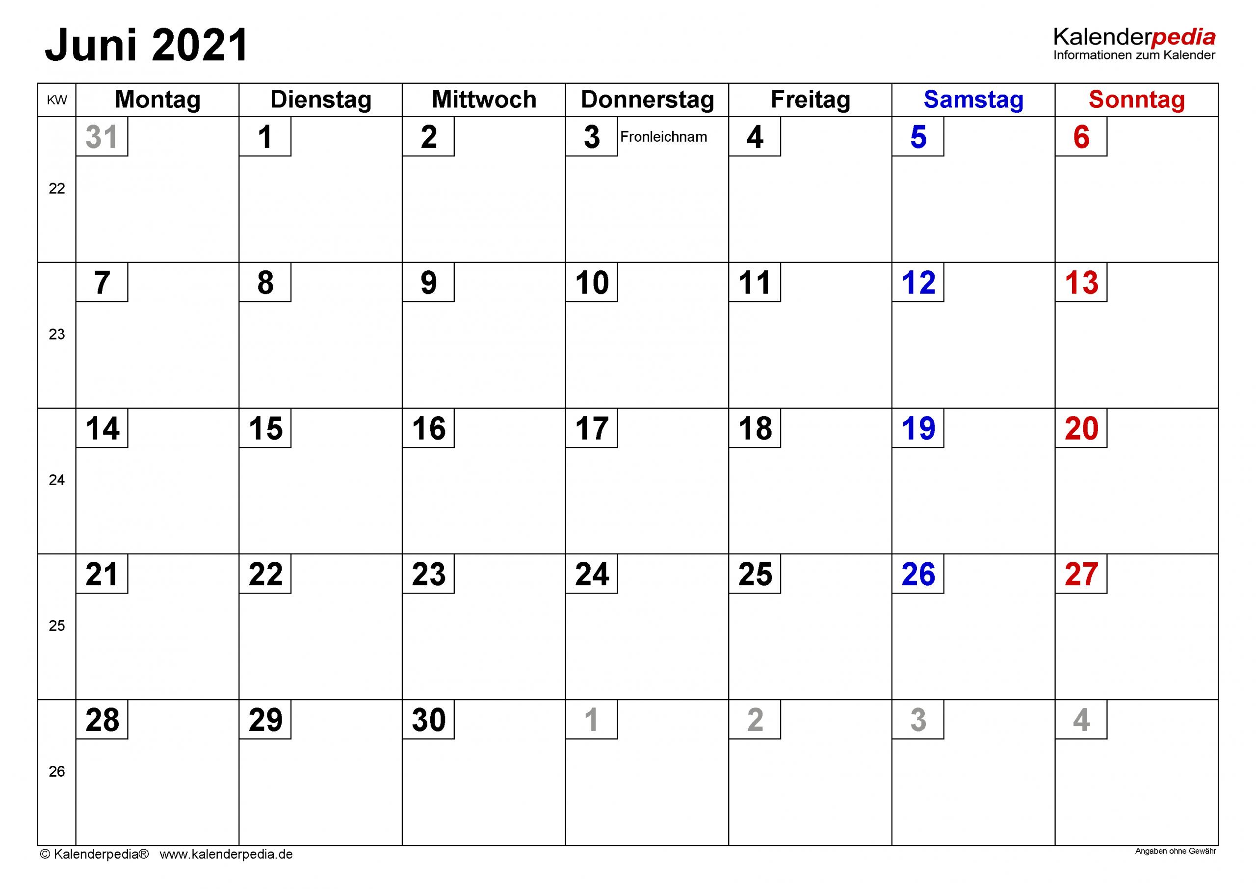 Kalender Juni 2021 Als Excel Vorlagen