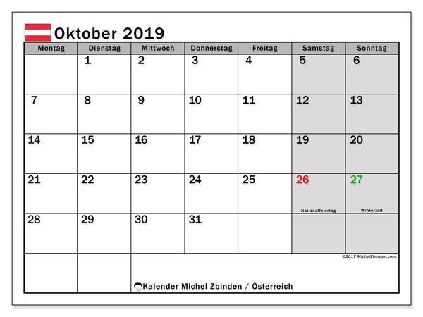 Kalender Oktober 2019 Osterreich Michel Zbinden De