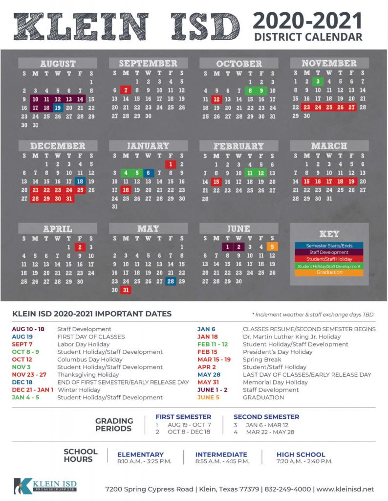 Klein Isd Calendar 2020 Calendar Template 2020