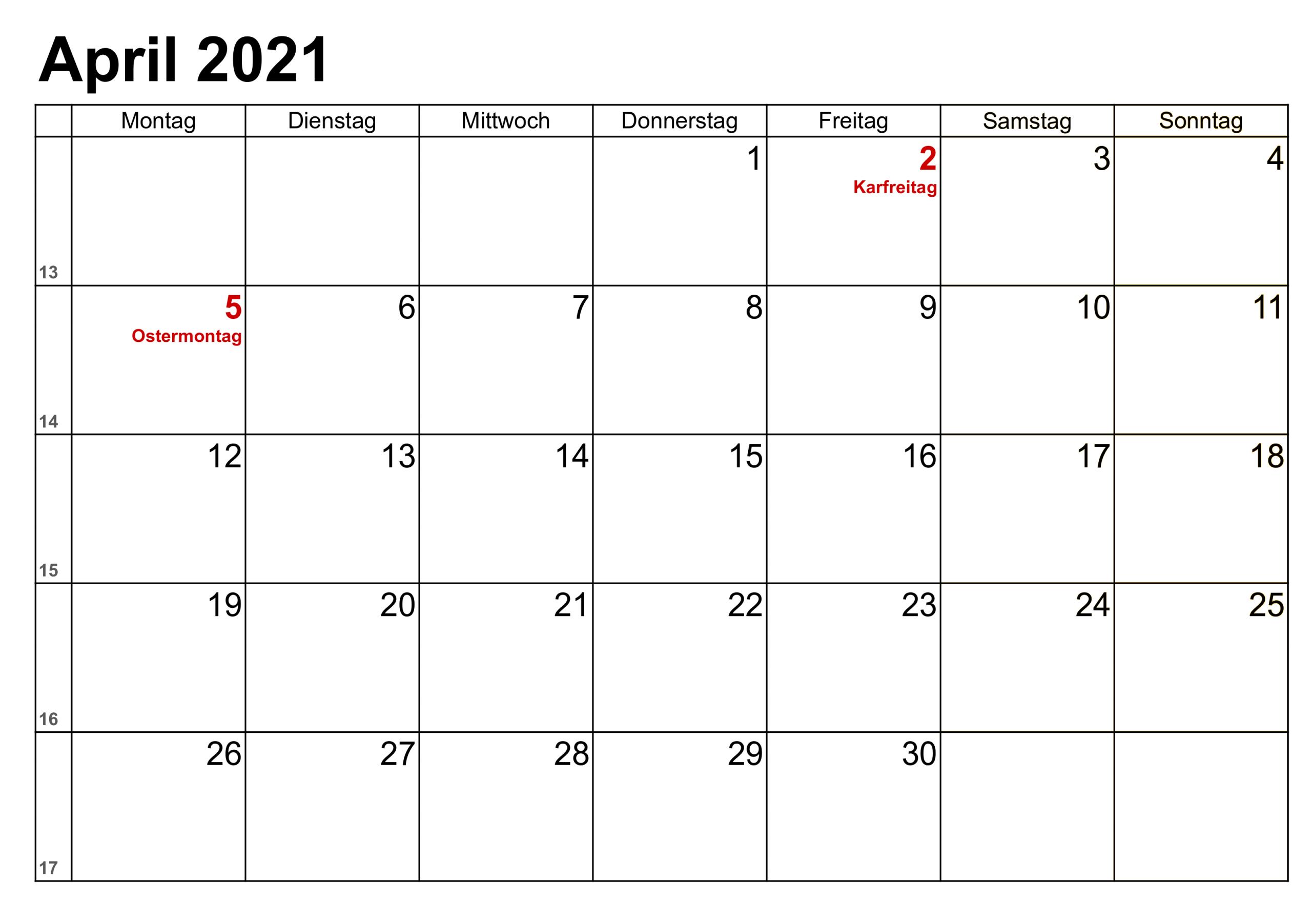 Kostenlos April 2021 Kalender Zum Ausdrucken Pdf Excel