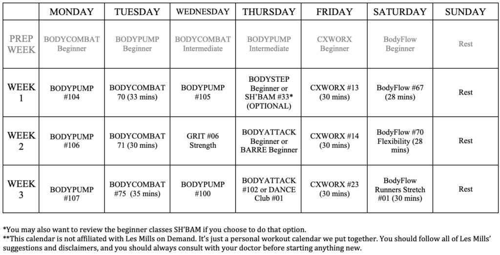 Les Mills On Demand Workout Calendar Free Printable