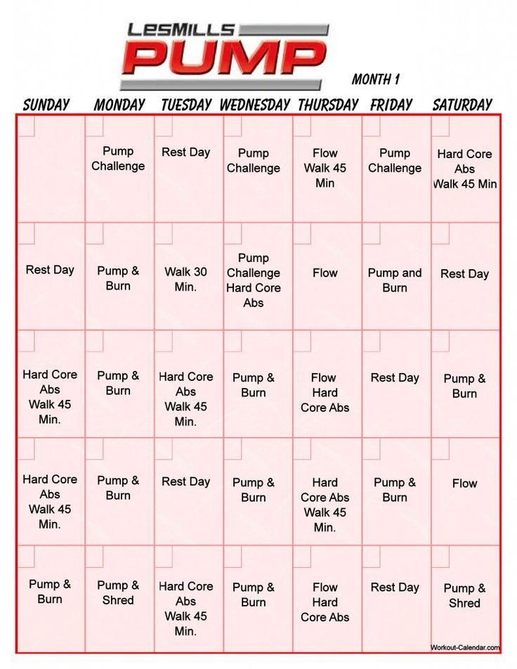 Les Mills Pump Calendar Calendar Template 2020