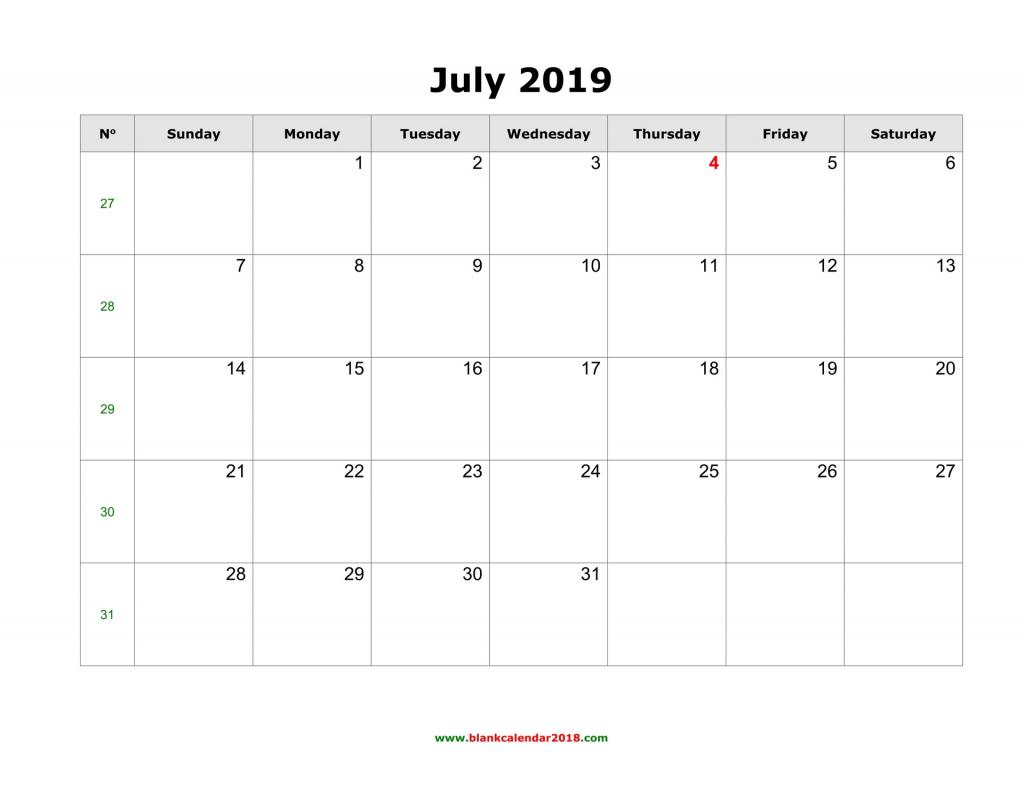 Lined July Calander Calendar Template 2020