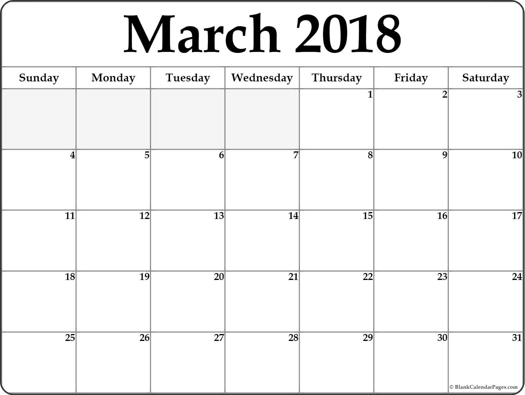 March 2018 Blank Calendar Templates