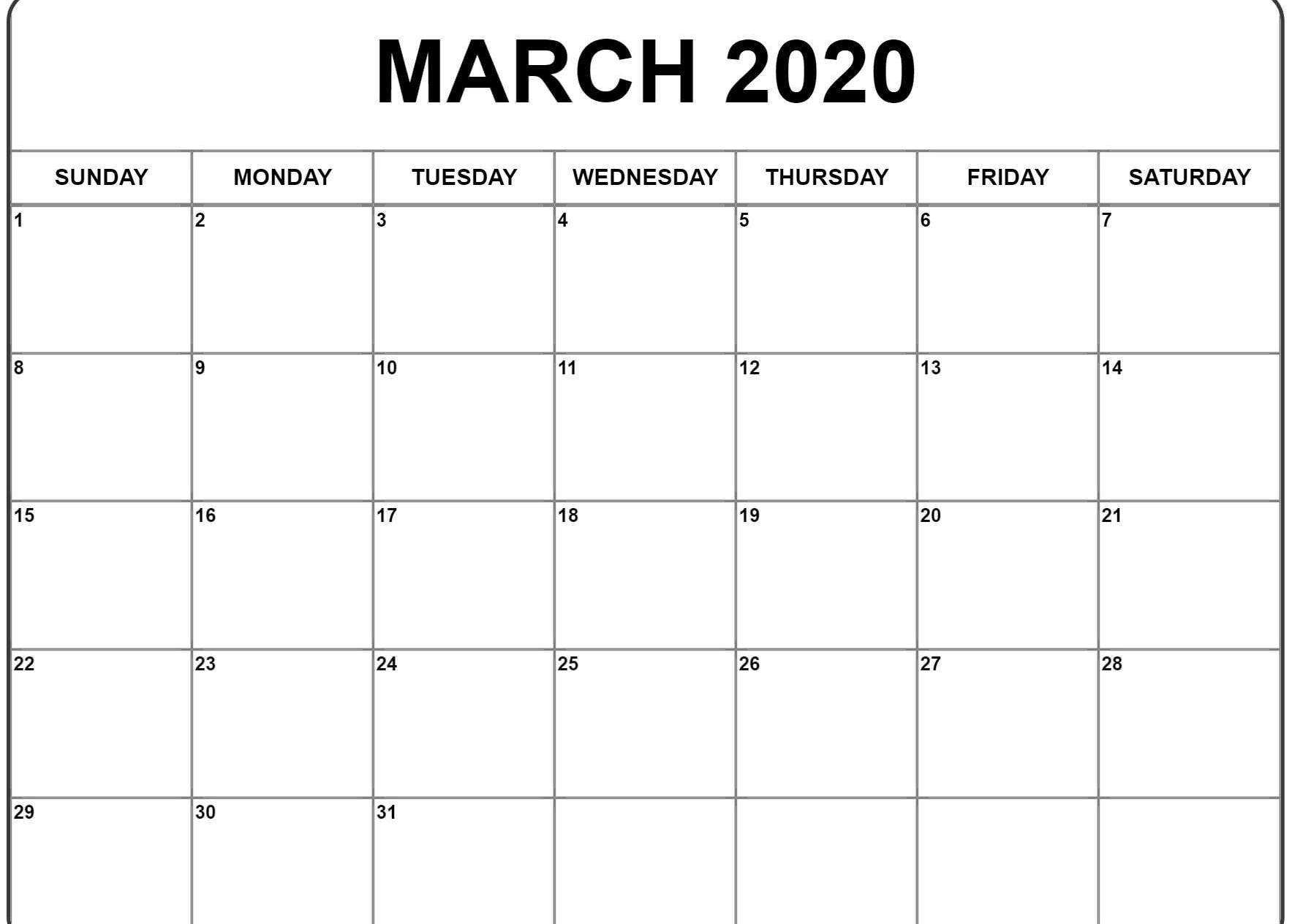 March 2020 Blank Calendar Printable In 2020 Calendar
