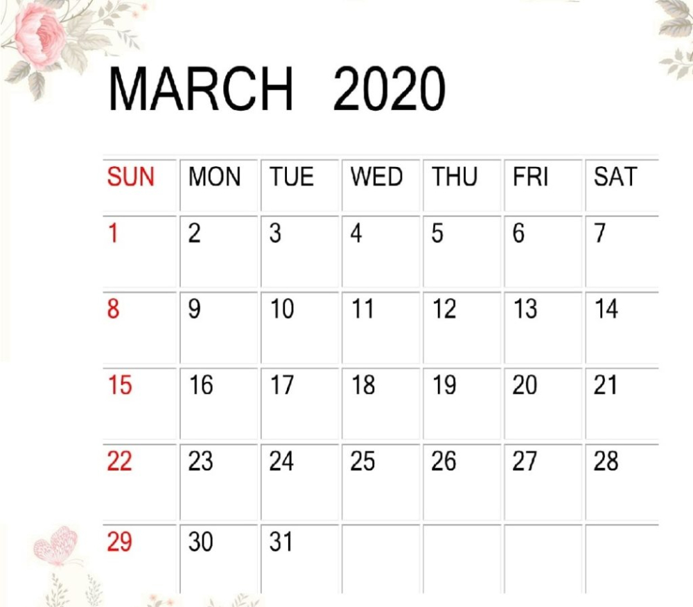 March 2020 Calendar School For Students And Teachers