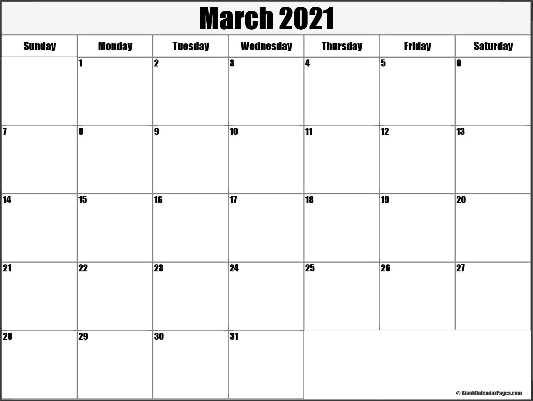 March 2021 Blank Calendar Collection