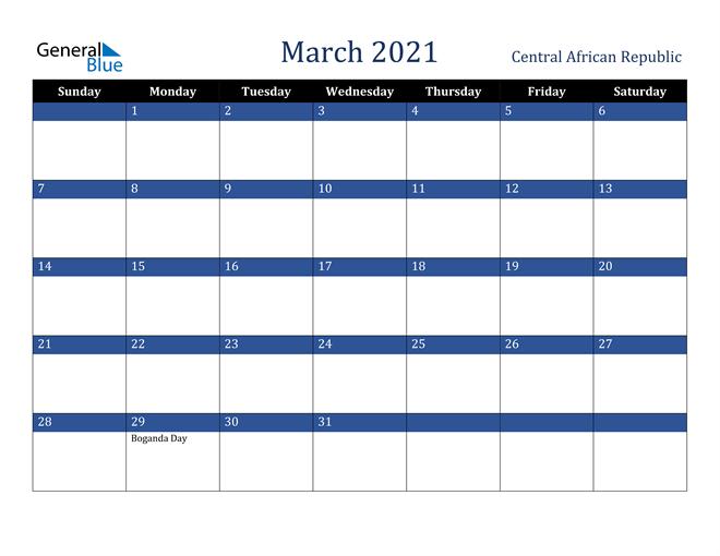 March 2021 Calendar Central African Republic 1