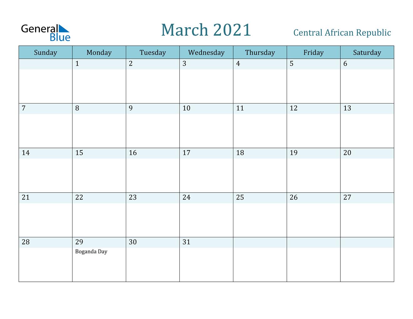 March 2021 Calendar Central African Republic 2