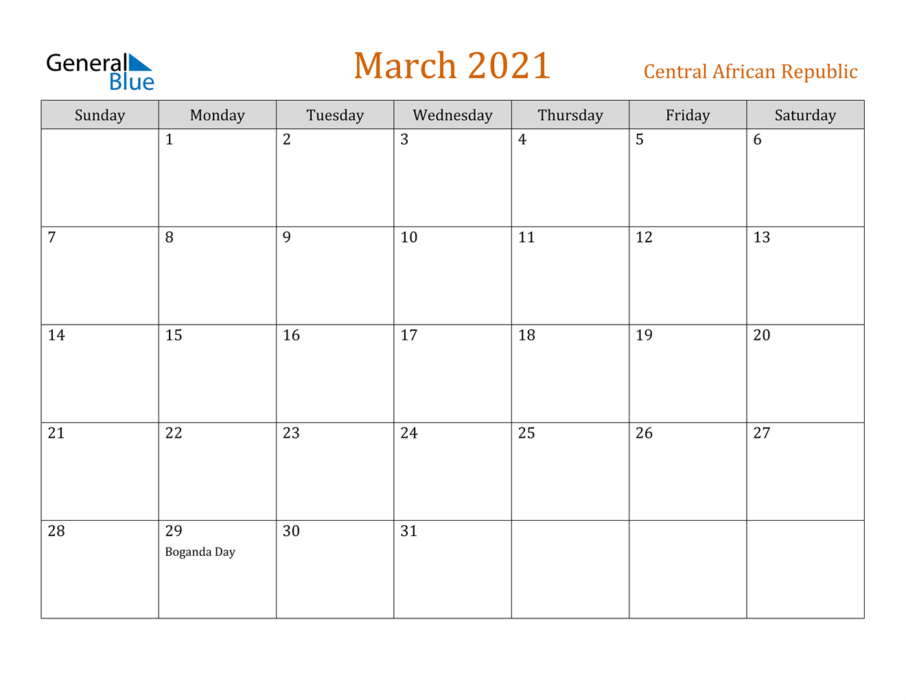 March 2021 Calendar Central African Republic