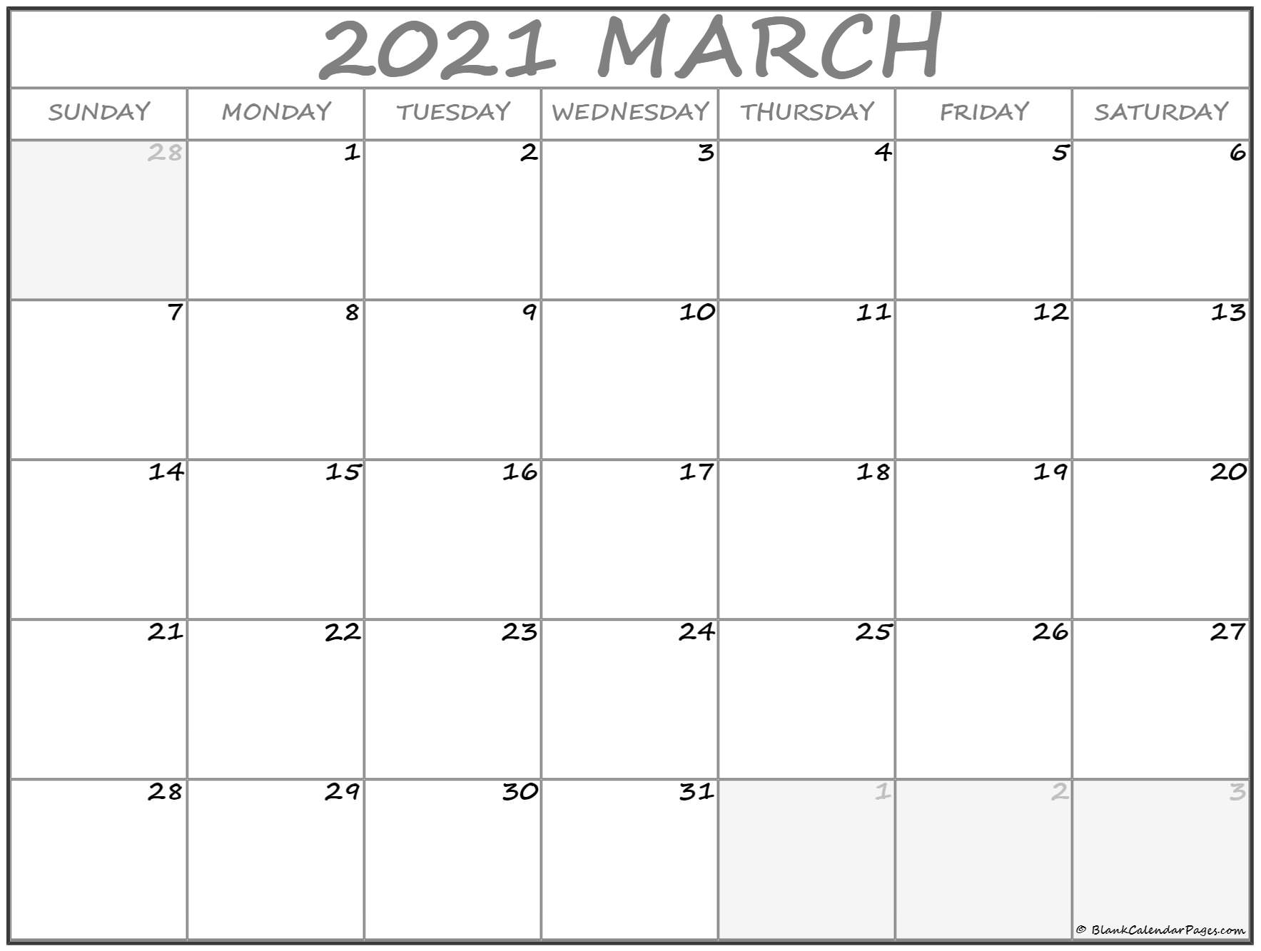 March 2021 Calendar Free Printable Monthly Calendars 1