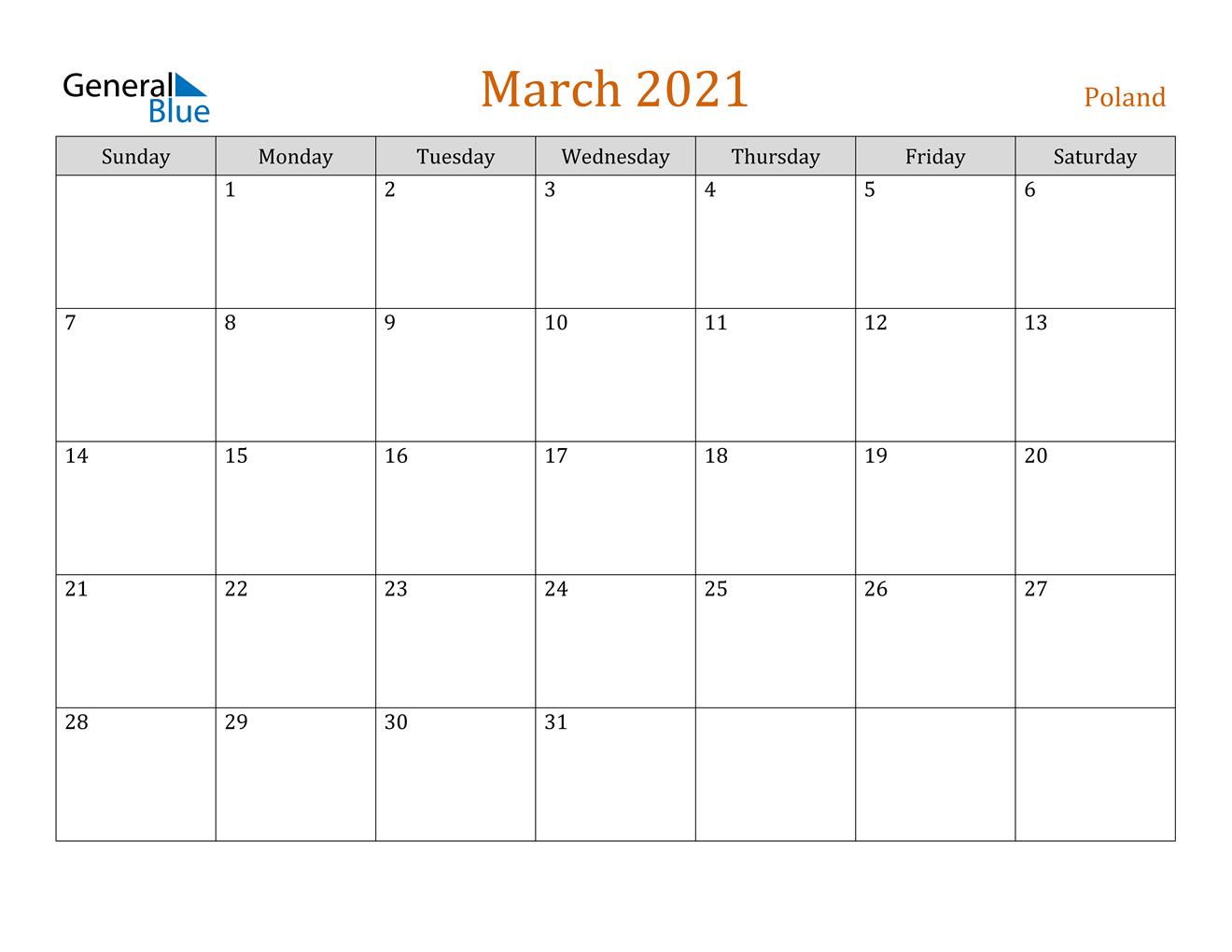 March 2021 Calendar Poland