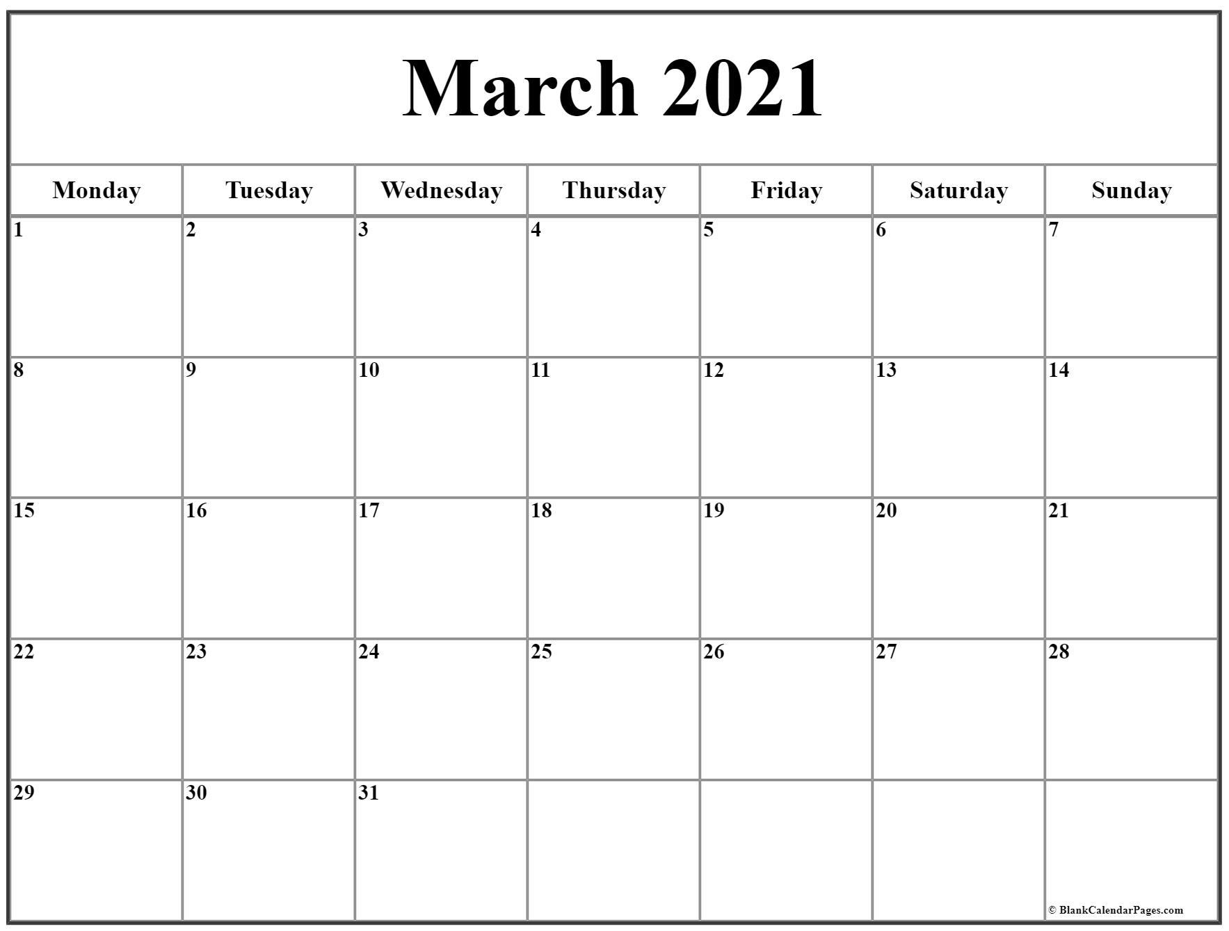 March 2021 Monday Calendar Monday To Sunday