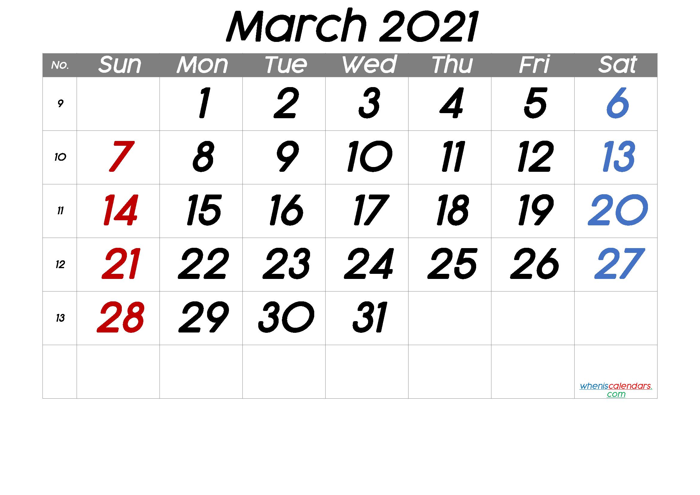 March 2021 Printable Calendar With Week Numbers 6